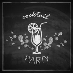 vintage illustration with cocktail on blackboard background