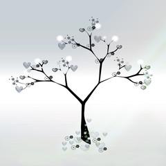 Love tree hearts announcement