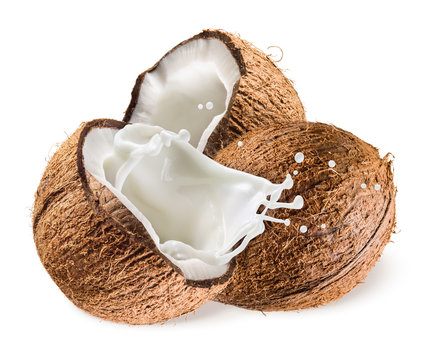 Coconut with milk splash on white background