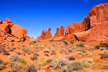 Fototapete - Arches National Park, USA, scenic view of Park Avenue