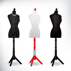 Female Dressmakers Mannequin black and white