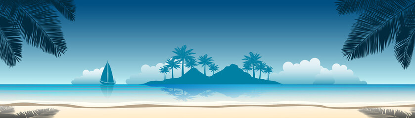 summer vacation vector banners with tropical beach