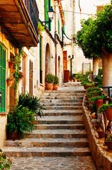 Obraz Ulica w miejscowości Valldemossa na Majorce - fototapety do salonu