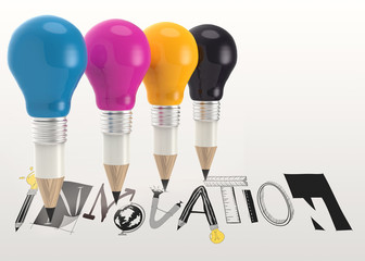 hand drawn graphic word INNOVATION and 3d pencil light bulb as c