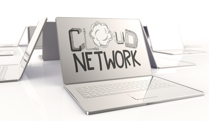 design word hand drawn CLOUD NETWORK and 3d laptop computer as c