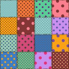 Seamless pattern of polka dot patchworks