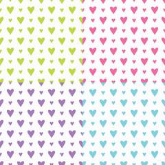 Cute Heart Pattern Set Seamless Vector