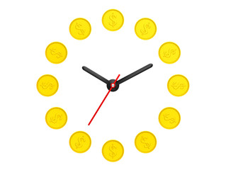 Time is money concept. Golden coin as clock