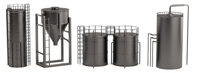 realistic 3d render of silos