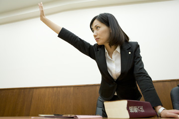 lawyer raising hand