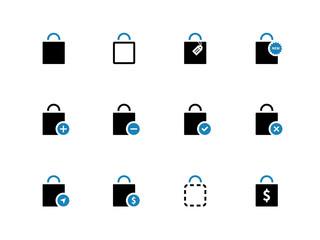 Shopping bag duotone icons on white background.