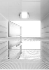 Inside View of an empty Modern Fridge