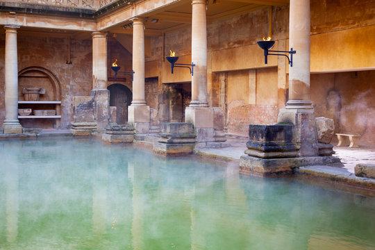 Main Pool in the Roman Baths in Bath, UK