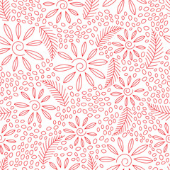 Floral seamless pattern with flowers and thin red lines