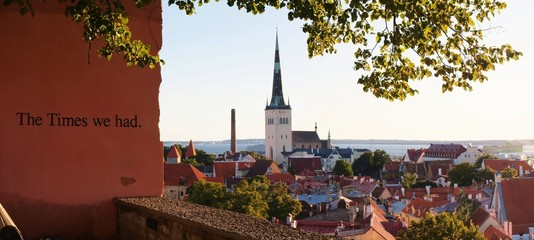 Skyline of Tallinn, Estonia at sunrise