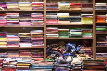 scarfs on shelves at turkish market