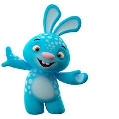 Amazing 3D happy easter bunny, merry cartoon rabbit