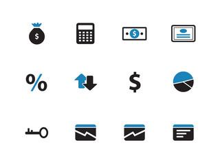 Economy duotone icons on white background.