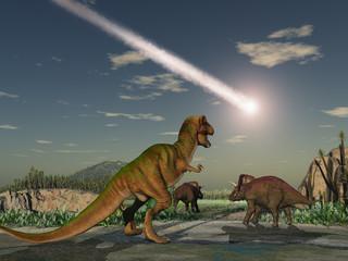 Dinosaurios mirando la caída de un asteroide