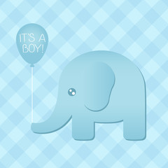 Blue Elephant Babyshower Illustration