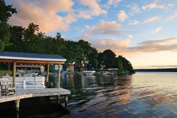 Lake house sunrise