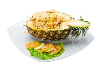 Pineapple salad with seafood