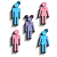 Various gender identities, set of icons