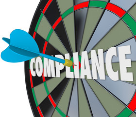 Wall Mural - Compliance Word Dart Board Direct Hit Follow Rules Laws Guidelin