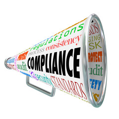 Wall Mural - Compliance Bullhorn Megaphone Legal Process Guidelines Rules Law