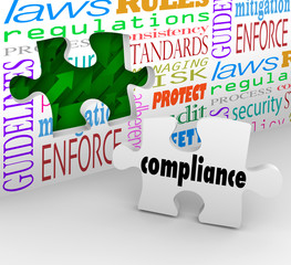 Fototapete - Compliance Puzzle Piece Wall Hole Guidelines Regulations Laws Ru