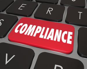 Fototapete - Compliance Computer Key Button Keyboard Online Website Informati