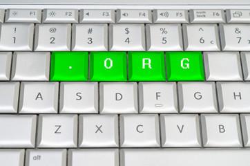Internet top level domain .org spelled on metallic keyboard