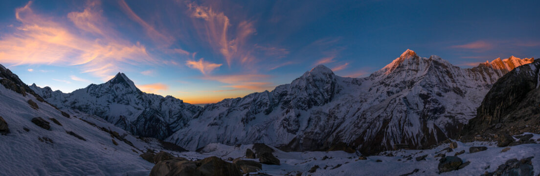 Panoramic view of Annapurna Range at sunrise, Nepal