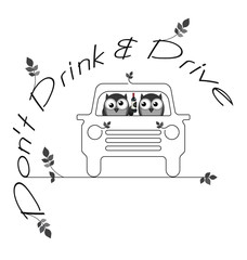 Monochrome do not drink and drive twig text