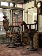 Orientalny salon fryzjerski retro