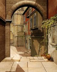 Brama na słonecznej ulicy starego miasta
