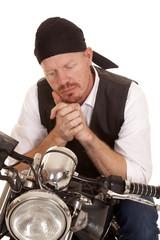 Man bandana motorcycle look down close