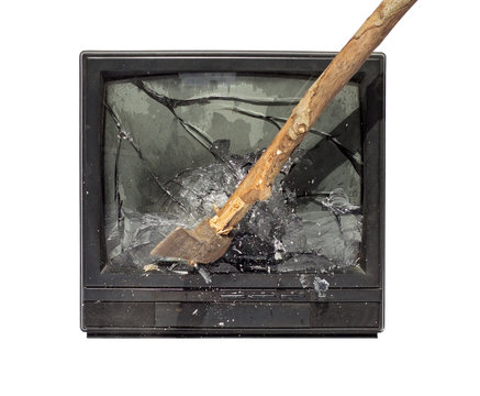 ax to smash the TV screen
