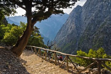 Trail through Samaria gorge, island of Crete