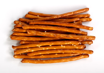 Salty bread finger snacks on a white background