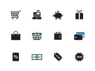 Shopping duotone icons on white background.