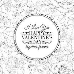 I love you card. Over roses pattern.