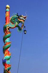 Chinese dragon  statue art  on  post  on  blue sky background