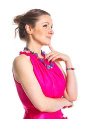 Fashion woman poising in studio