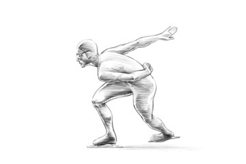 Hand-drawn Sketch Pencil Illustration of a Short Track Speed Ska