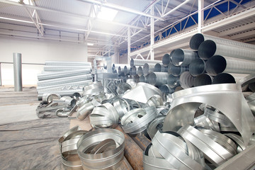 Pipes in Modern factory construction site