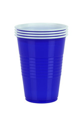 Blue plastic cupsisolated on white background