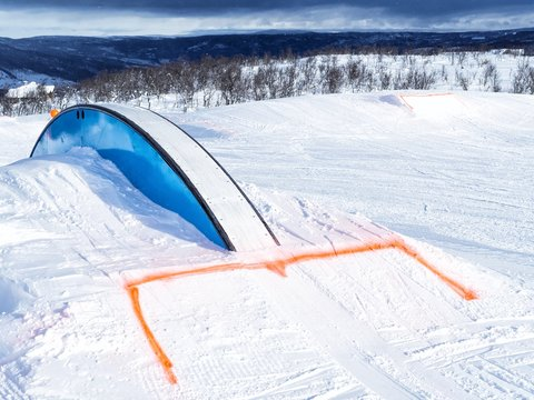Winter fun park with rail