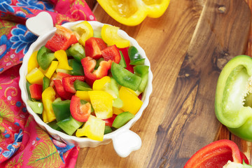 Colored Peppers mixed and chopped up