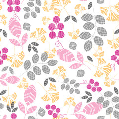Vector abstract pink, yellow and gray leaves seamless pattern